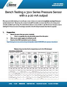 3100 Series Pressure Sensor 4-20 mA Bench test