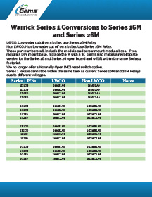 Warrick Series 1 Conversions for 16M and 26M