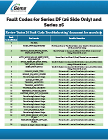 Warrick Series DF and 26 Fault Codes