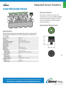 Gems Sensors Catalog, Integrated Sensor Solutions - 3100 Pressure Packs